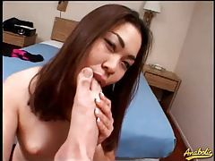 Asian sucks his balls, toes, and asshole tubes