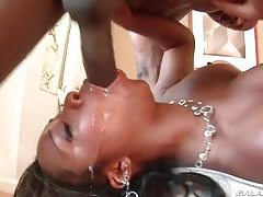 Fat black cock slipping down her throat tubes