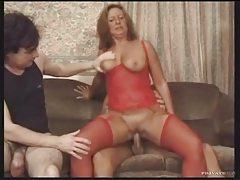 Fat ass milf in red lingerie loves gangbang tubes