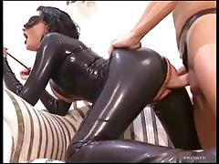 Full latex catsuit on slut taking dick tubes