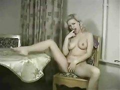 Hot retro blonde strips nude and masturbates tubes