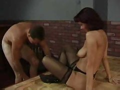 Solo stripper sucks his cock on stage tubes
