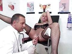 Girl at gynecologist has pussy worked over tubes