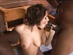 Curly hair girl on her knees sucking black cocks tubes