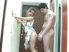 Milf in dress sucks and fucks with young guy tubes