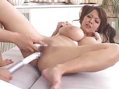 Japanese girl vibrated by big toys tubes