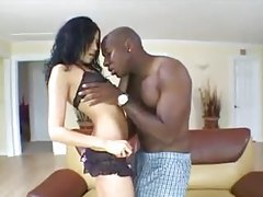 Pretty girl gets on her knees to suck black cock tubes
