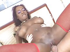 Fucked black girl in sexy red stockings tubes
