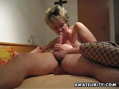 Mature and busty amateur wife blowjob with anal creampie tubes