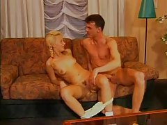 Pretty blonde in pigtails likes erotic fucking tubes