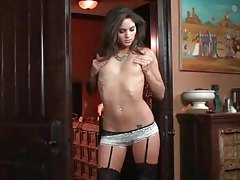 Solo and sexy in lingerie and modeling lustily tubes