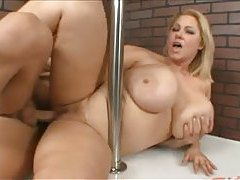 Fat chick Samantha fucked on stage tubes