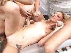 Skinny hot fuck slut takes on two dicks tubes