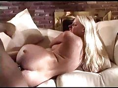 Black cock slowly fucks her white ass tubes