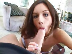 Skinny cocksucker on her knees for POV BJ tubes