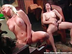 Two hot women masturbate in piano room tubes