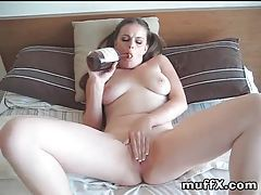 Big boobs babe drinking and masturbating tubes