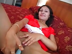 Red French maid uniform on solo hotel slut tubes