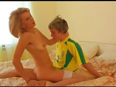 Soccer dude fucks sexy Russian milf in stockings tubes