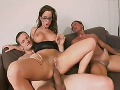 Knob gobbling slut in glasses craves DP sex tubes