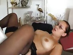 Secretary services his cock with her body tube