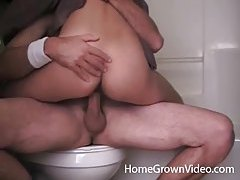 Hot girl sits on his dick in bathroom tubes
