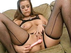 Cute Katie in sexy lingerie masturbates with her pink dildo at home tubes