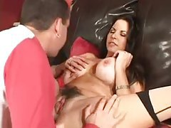 Milf in stockings gives young guy head tubes