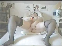 Fat milf masturbating with toys tubes