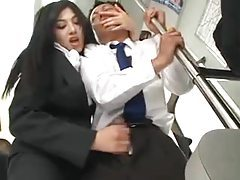 Business man gets handjob on a train tube
