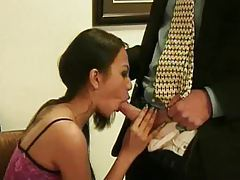 Asian in a dress sucks his cock in office tubes