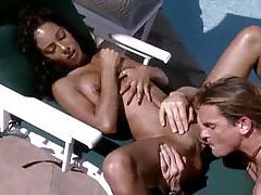 Tight body black slut fucked poolside tubes