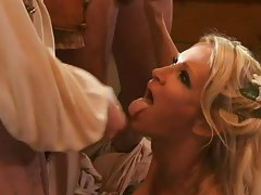 Blonde beauty down on her knees sucking dicks tubes