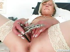 Leather boots on this masturbating mature tubes