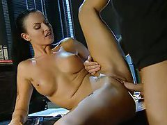 Naughty dark haired beauty gets fucked in the office tubes
