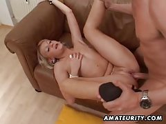 Hot blonde amateur girlfriend sucks and fucks with cum in mouth tubes