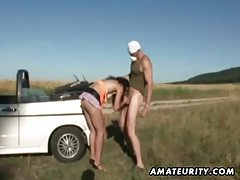 Brunette amateur girlfriend sucks and fucks outdoor with facial tubes