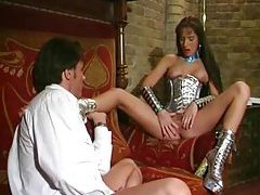 Shiny girl in space lingerie fondled tubes