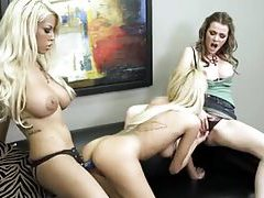 Horny lesbian trio enjoy strapon and eating pussy tubes