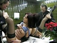 Blouse and stockings girl fucked in bathroom tubes
