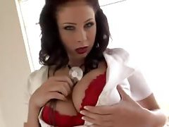 Busty brunette nurse plays with her huge tits tubes