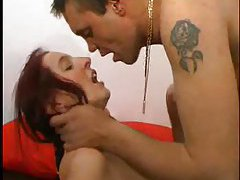 Pigtailed redhead gets her ass licked then filled tubes