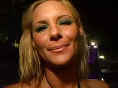 Sexy blonde amateur in tiny bikini teases tubes