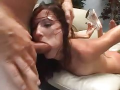 Hailey Young gagging on facefucking cocks tubes