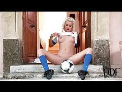 Hot soccer babe in sexy red lipstick tubes