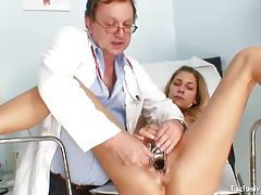 Fingering and pushing speculum into his patient tubes
