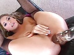 Hottie with gorgeous butt ass fucks her glass toy tubes