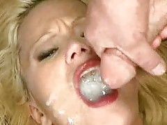 Slutty blonde whore swallows many men tube