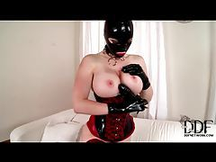 Masked nympho with huge jugs uses big dildo tubes