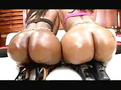 Big jiggling black butts oiled up tubes